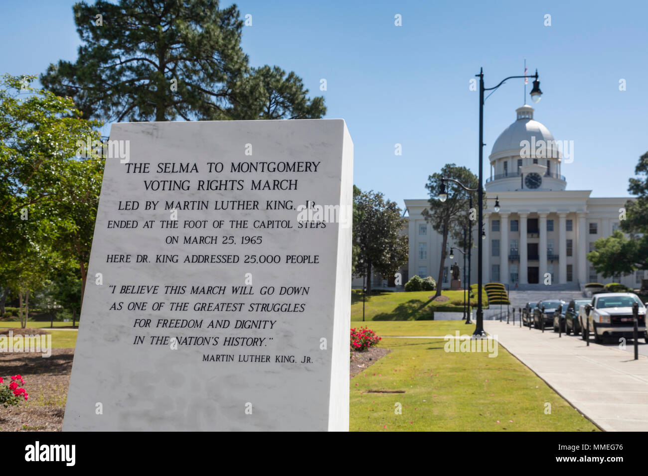 Montgomery, Alabama - A marker at the Alabama state capitol about the 1965 Selma to Montgomery Voting Rights March. - Stock Image