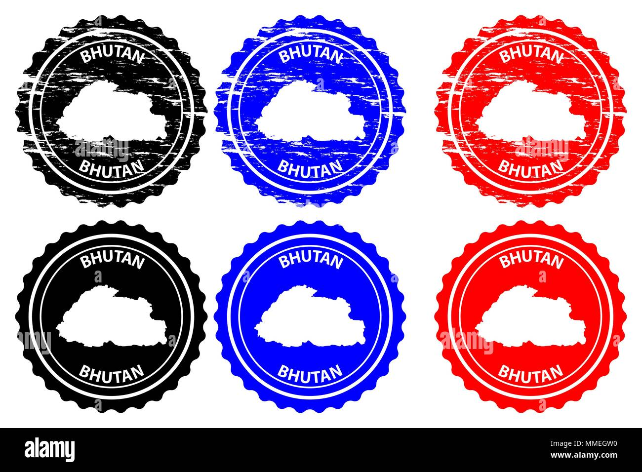 Bhutan - rubber stamp - vector, Kingdom of Bhutan map pattern - sticker - black, blue and red - Stock Vector