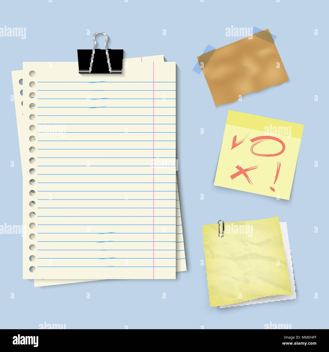 notes paper set - Stock Vector