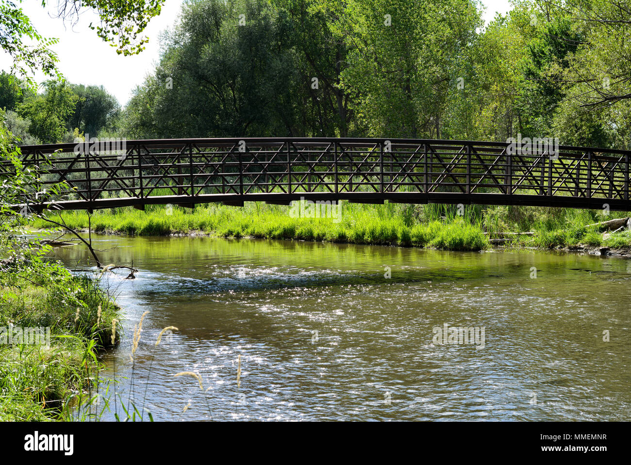 Summer Creek - A iron trail bridge over a full summer creek. Bear Creek, Denver-Lakewood, Colorado, USA. - Stock Image