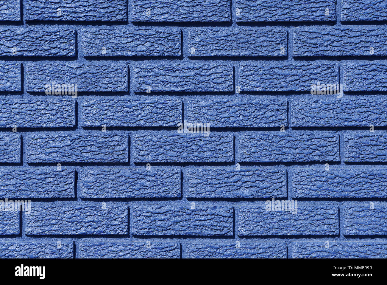 Closeup Of An Exterior Brick Wall Painted In Blue Stock Photo Alamy