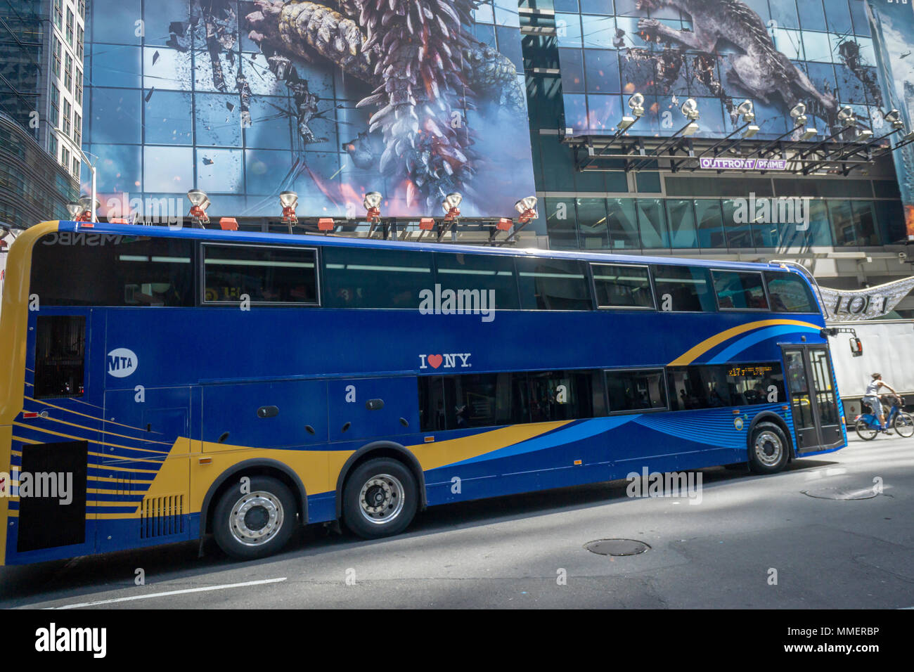 The all-new double-decker test bus passes through Midtown Manhattan in New York on Thursday, May 3, 2018. The higher capacity bus running as a test will travel on the X17J route between Staten Island and Midtown Manhattan. (© Richard B. Levine) - Stock Image