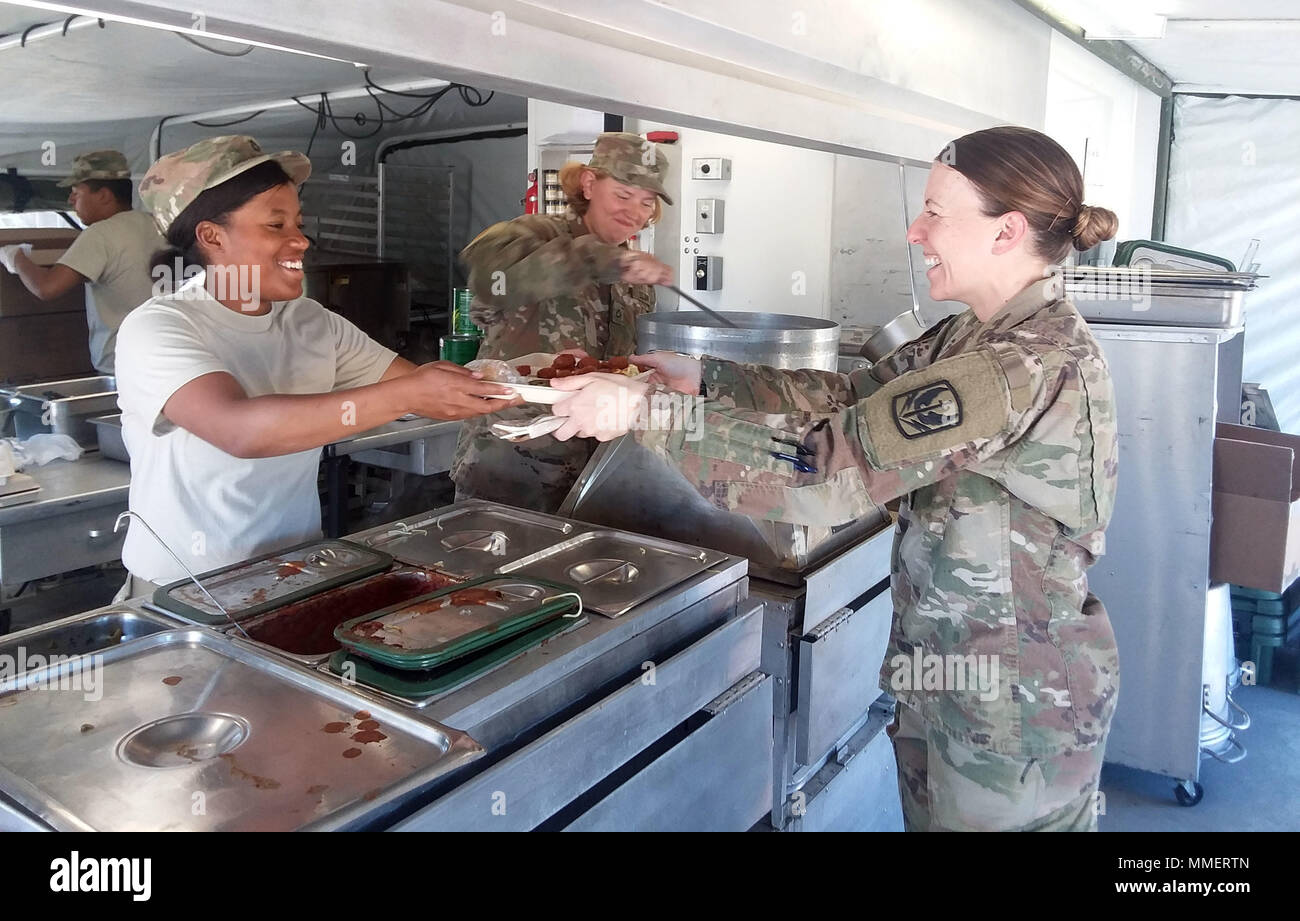 From left to right, Pfc. Tiara Randle and Pfc. Tammi Anderson, food