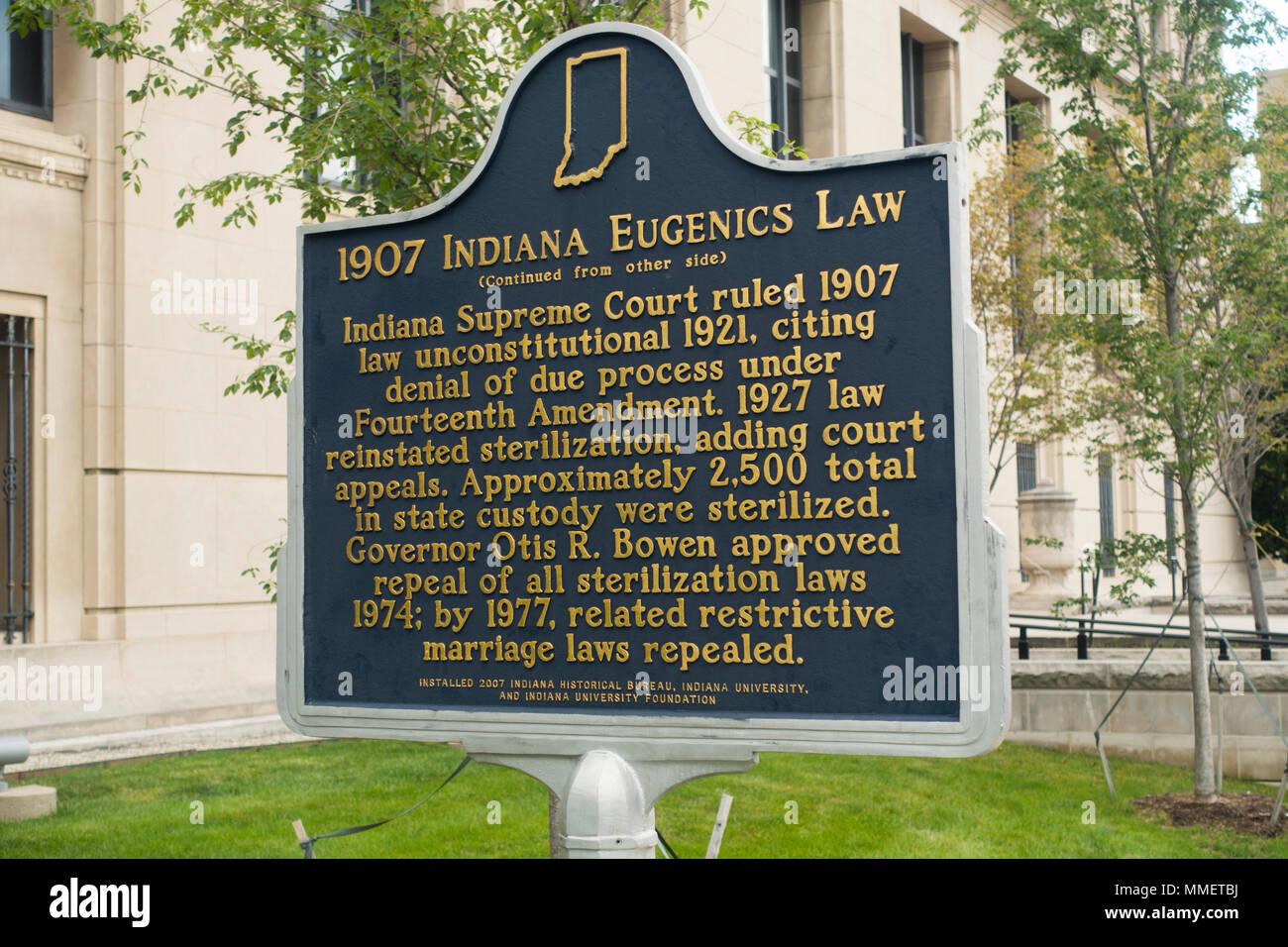 1907 Indiana Eugenics law plaque Indianapolis - Stock Image