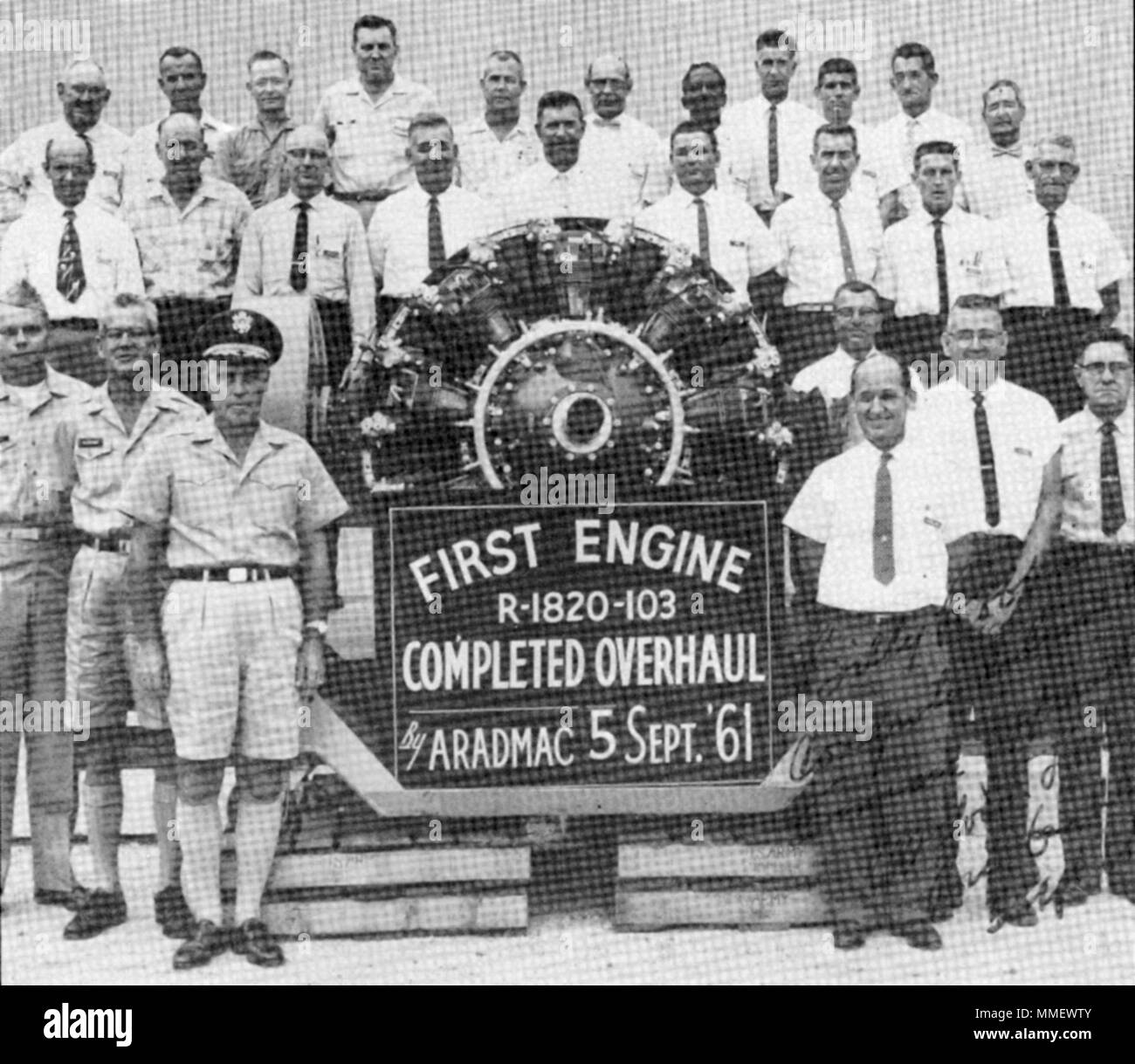 First Completed Engine Overhaul, ARADMAC, 9-5-1961 (today's Corpus Christi Army Depot (US Army Photo) - Stock Image