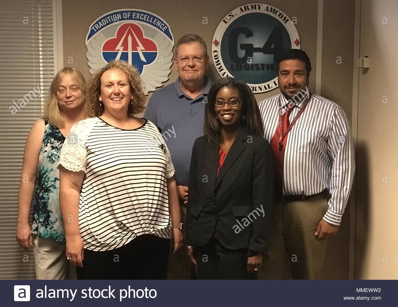 The Aviation and Missile Command's G-4 Environmental Hot Line Team is responsible for reviewing UH-72 Lakota consumables materials for compliance with new air regulations and for providing recommended substitutions when necessary. The team includes, from left, Leslie Hasenbein, Sheree York, team lead Mark Feathers, LaDonna McCann and Zubin Dutia. Not pictured is Paul Robinson. (Courtesy Photo) - Stock Image