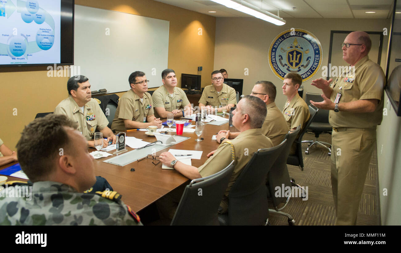 SAN DIEGO (Oct. 31, 2017) Cmdr. Robert Nowlin (right), with Naval Surface and Mine Warfighting Development Center (SMWDC), conducts a briefing on surface warfare tactical development for officers with the Mexican Naval Secretariat at Naval Base San Diego.  SMWDC is one of the Navy's five Warfighting Development Centers and its mission is to increase the lethality and tactical proficiency of the Surface Force across all domains.  (U.S. Navy photo by Christopher E. Tucker/Released) Stock Photo