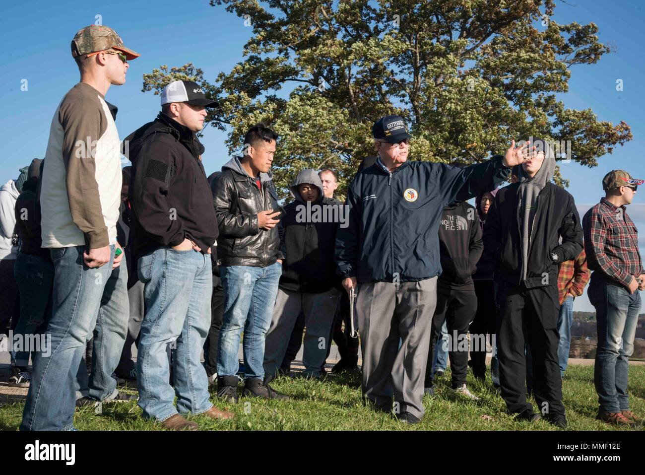 171030-N-FG807-072   GETTYSBURG, Pa. (Oct. 30, 2017) Sailors assigned to the aircraft carrier USS Dwight D. Eisenhower (CVN 69)(Ike) participate in a guided tour of the Dwight D. Eisenhower National Historic Site. Ike is undergoing a Planned Incremental Availability (PIA) at Norfolk Naval Shipyard during the maintenance phase of the Optimized Fleet Response Plan (OFRP).  (U.S. Navy photo by Mass Communication Specialist 3rd Class Devin Alexondra Lowe) Stock Photo