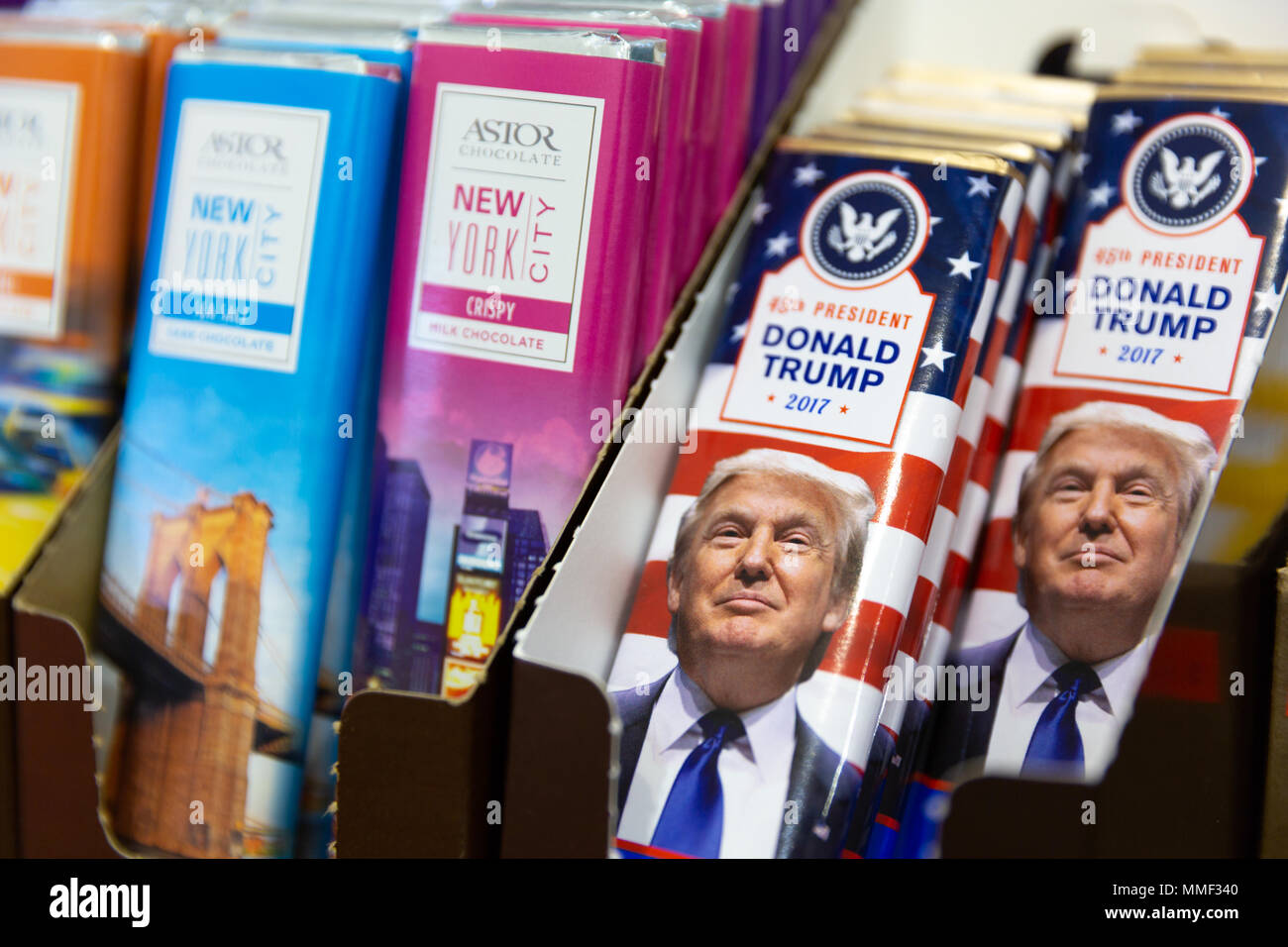 NEW YORK -  MAY 3, 2018: Trump chocolate bars sold in gift shop. Donald J. Trump is the 45th and current president of the United States. Stock Photo