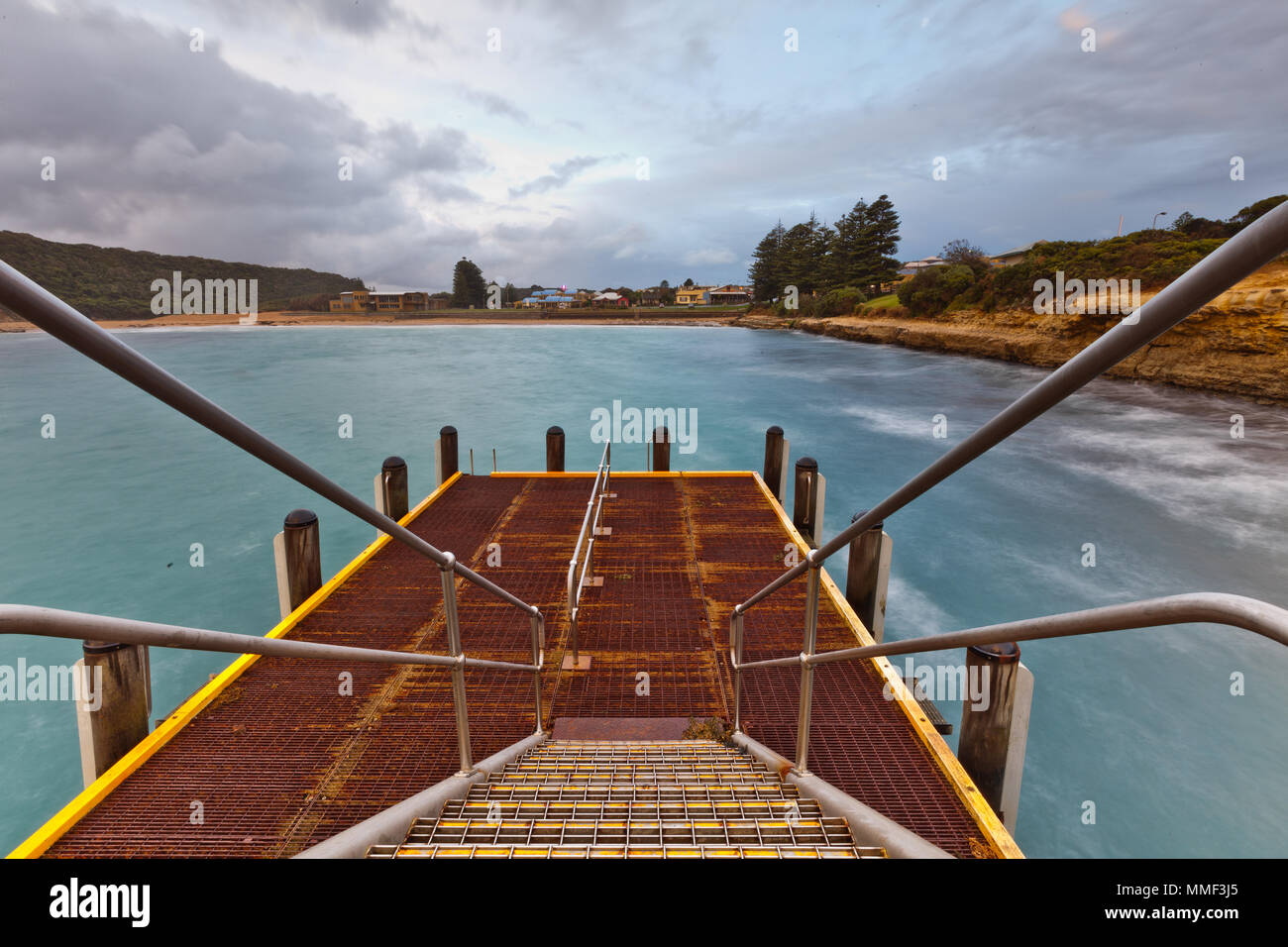 The Port Campbell jetty bridge wharf on the Great Ocean Road on 3rd May 2012 - Stock Image