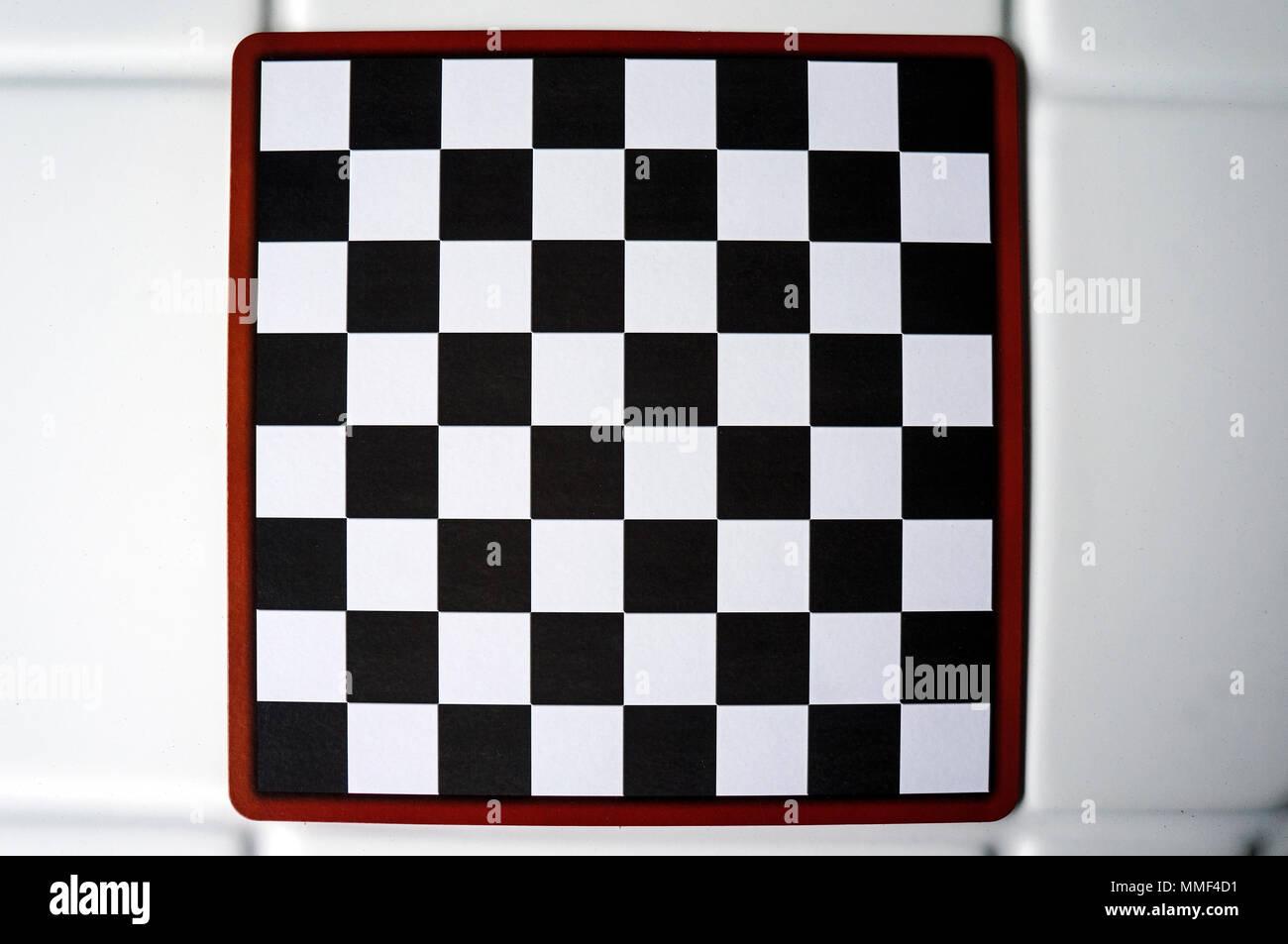 checkers board game isolated studio empty red black white Stock Photo