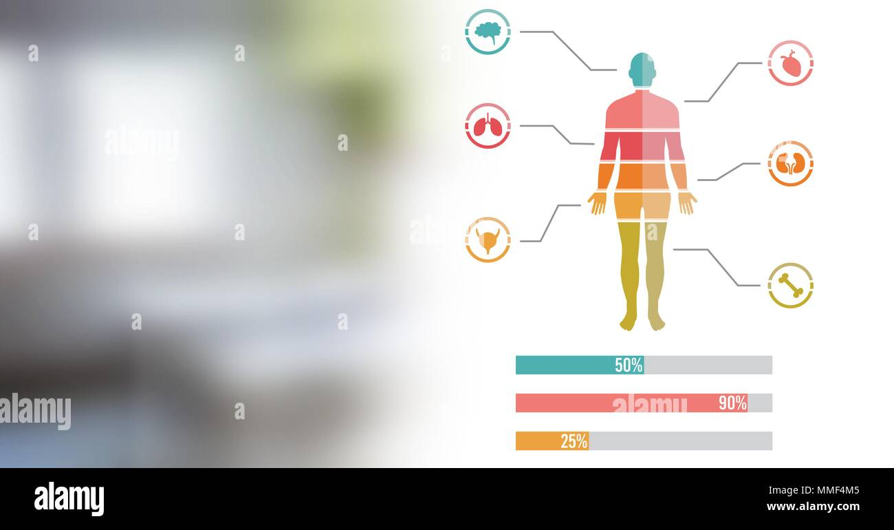 Human body chart and hospital room transition - Stock Image