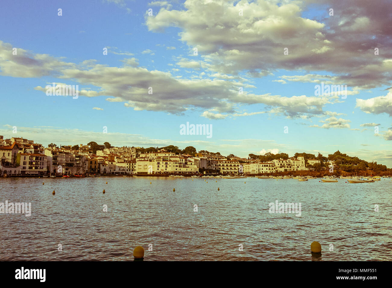 Panoramic view of Cadaques on Mediterranean seaside, Costa Brava, Catalonia, Spain. Image with vintage and yesteryear effect - Stock Image