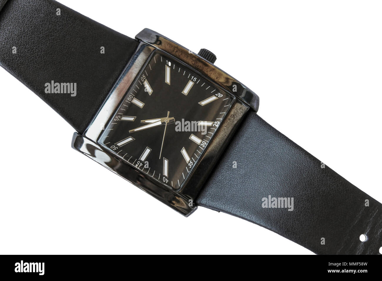 Wrist watch with a black leather remshkom isolated on a white background - Stock Image