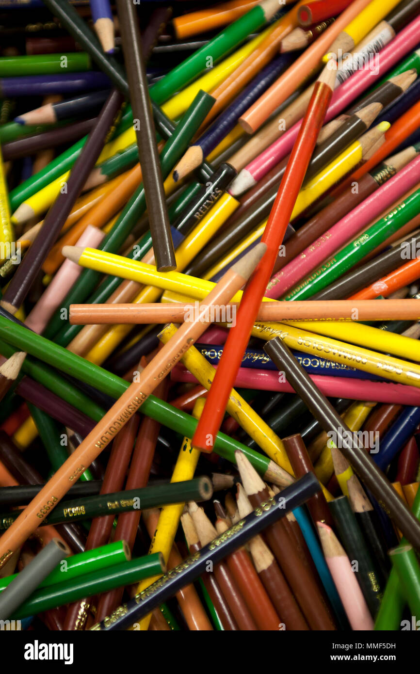 Still life of a collection of colored pencils - Stock Image