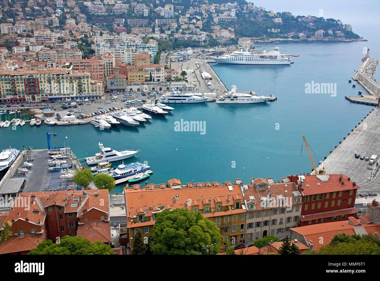 Hafen von Nizza, Côte d'Azur, Alpes-Maritimes, Suedfrankreich, Frankreich | Harbour of Nice, Côte d'Azur, Alpes-Maritimes, South France, France - Stock Image