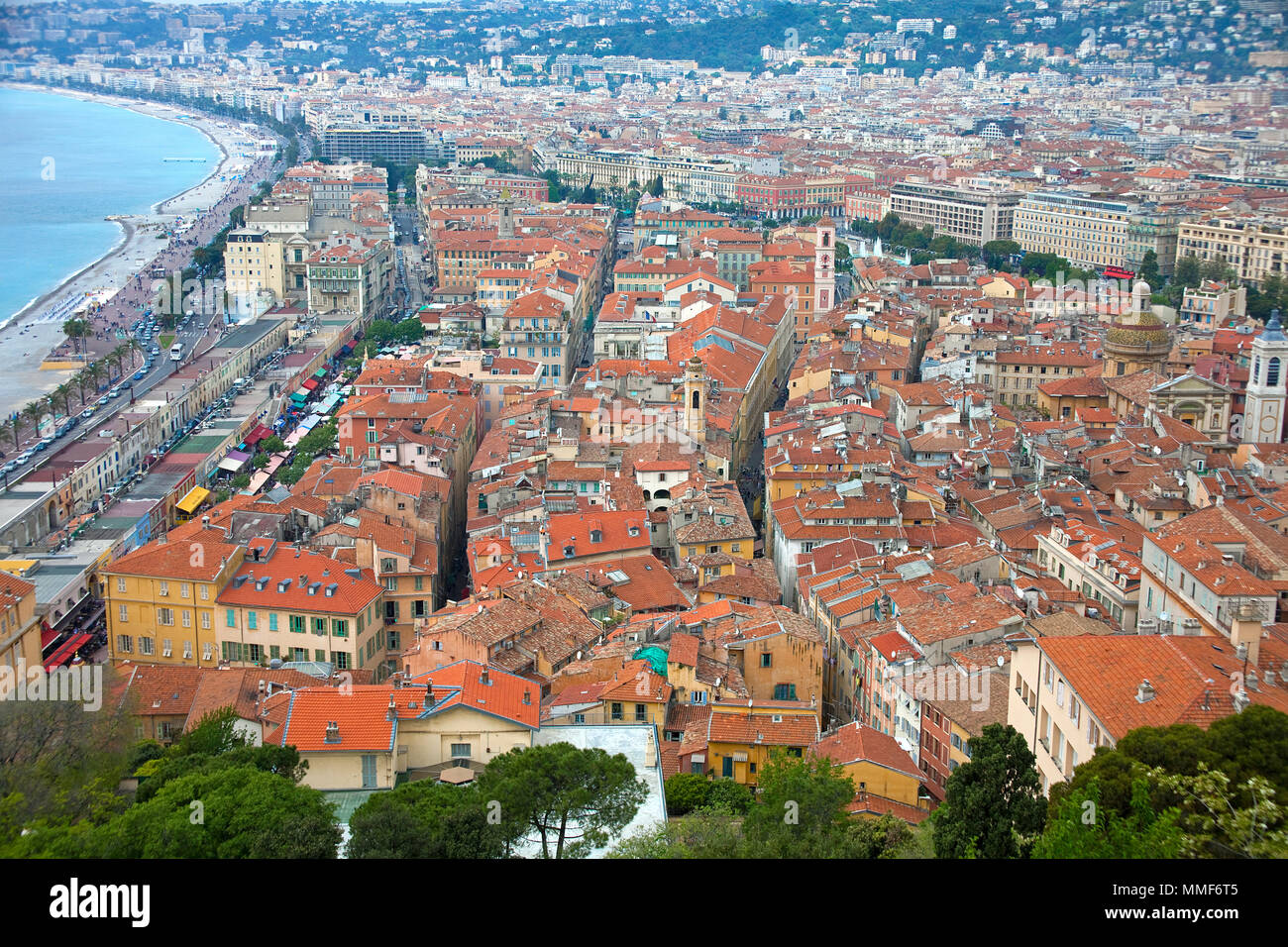 Old town and Promenade des Anglais, Nice, Côte d'Azur, Alpes-Maritimes, South France, France, Europe - Stock Image