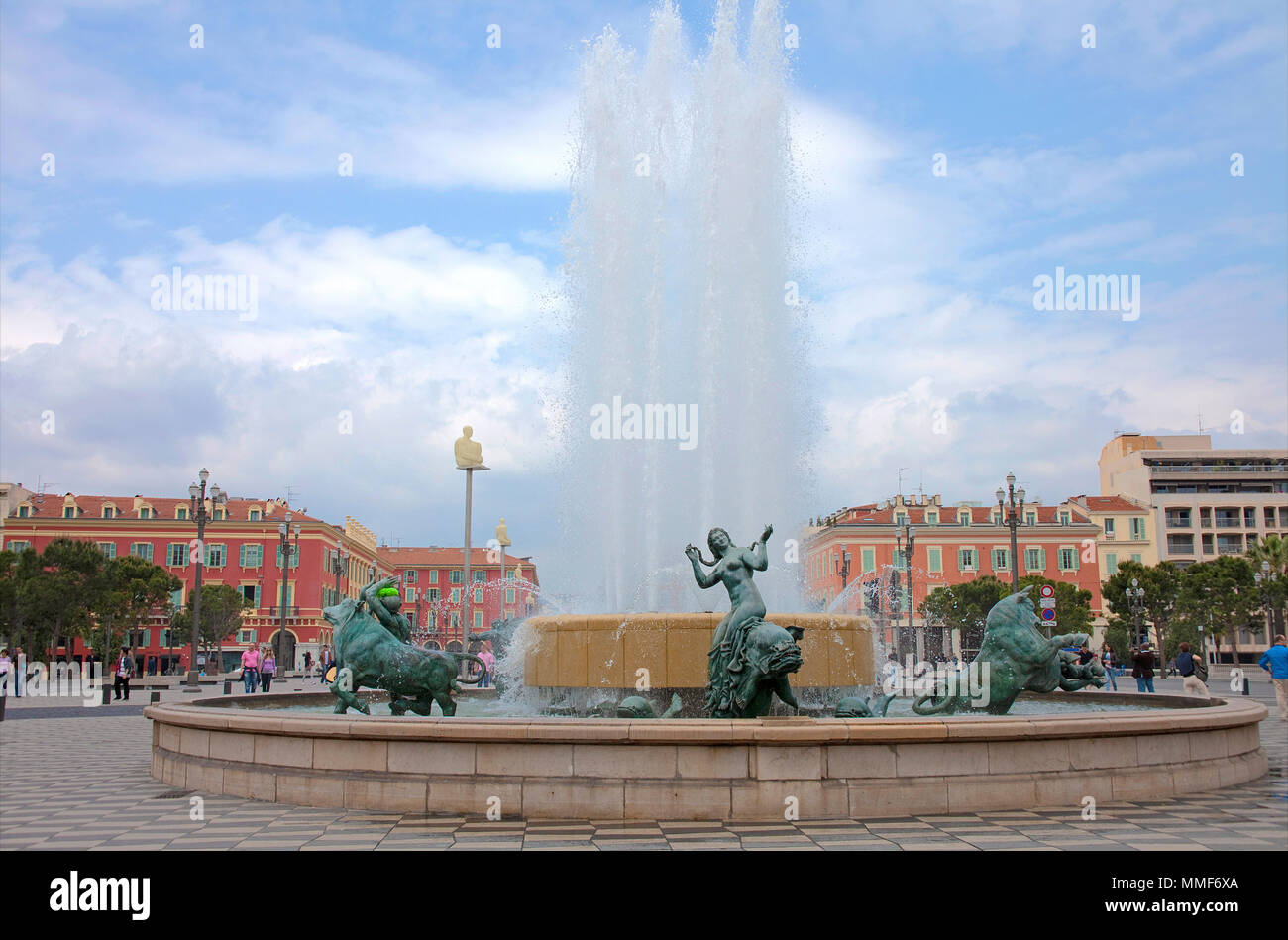 Fountain with sculptures at the historic square Place Masséna, Nice, Côte d'Azur, Alpes-Maritimes, South France, France, Europe - Stock Image