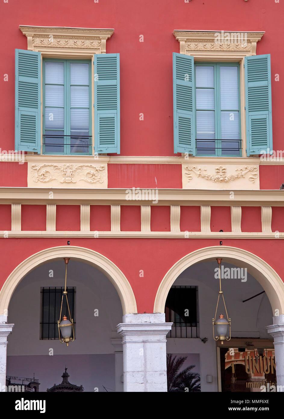 Facade of shopping center Lafayette, Place Masséna, Nice, Côte d'Azur, Alpes-Maritimes, South France, France, Europe Stock Photo