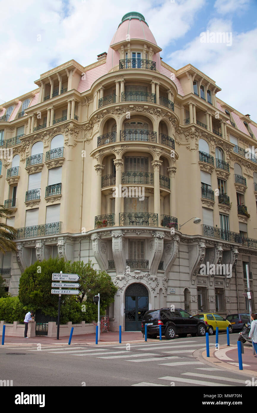 Neoclassic architecture, residential home at Promenade des Anglais, Nice, Côte d'Azur, Alpes-Maritimes, South France, France, Europe - Stock Image
