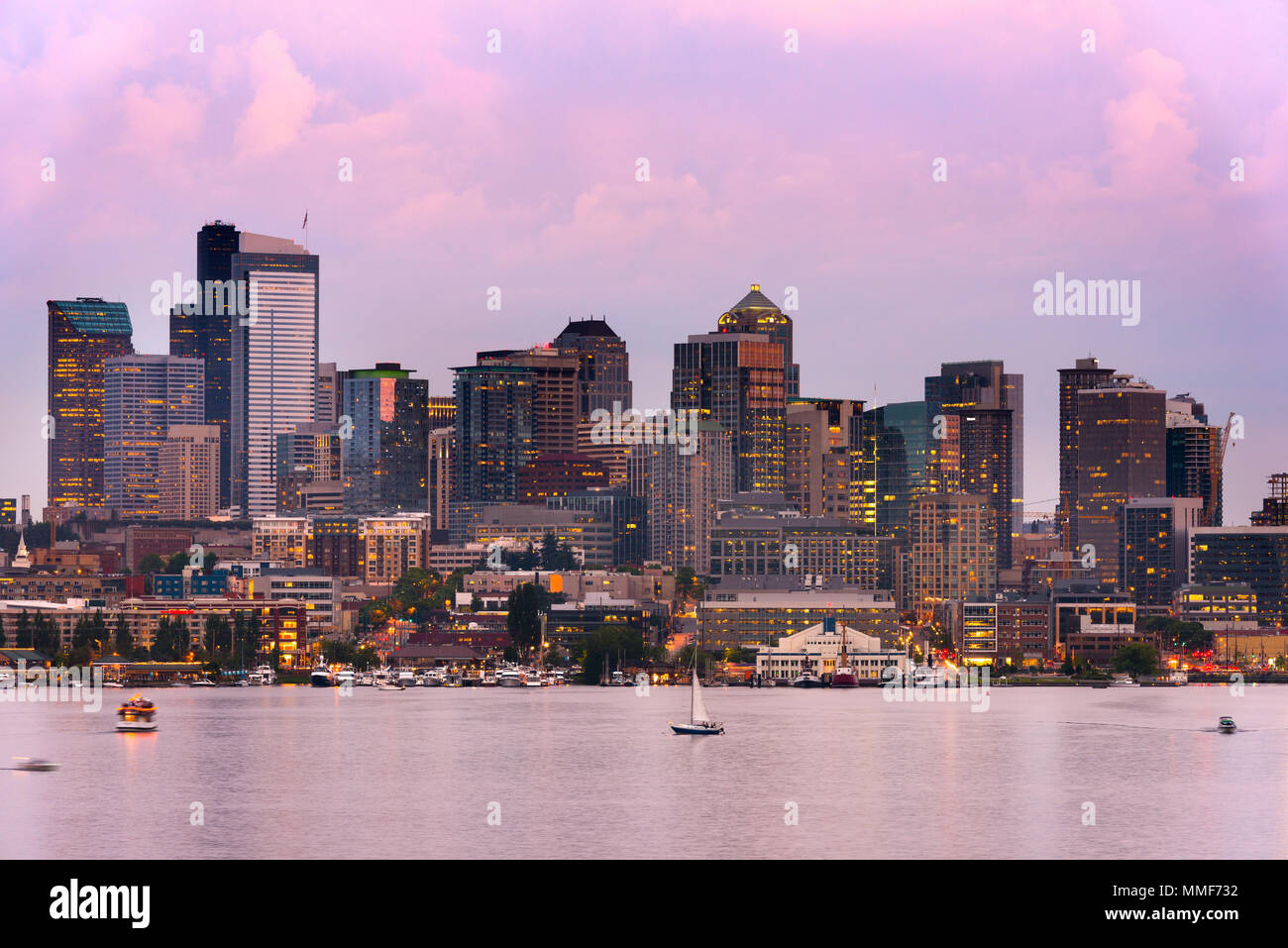 Lake Union and Downtown Seattle, Washington State, USA Stock Photo