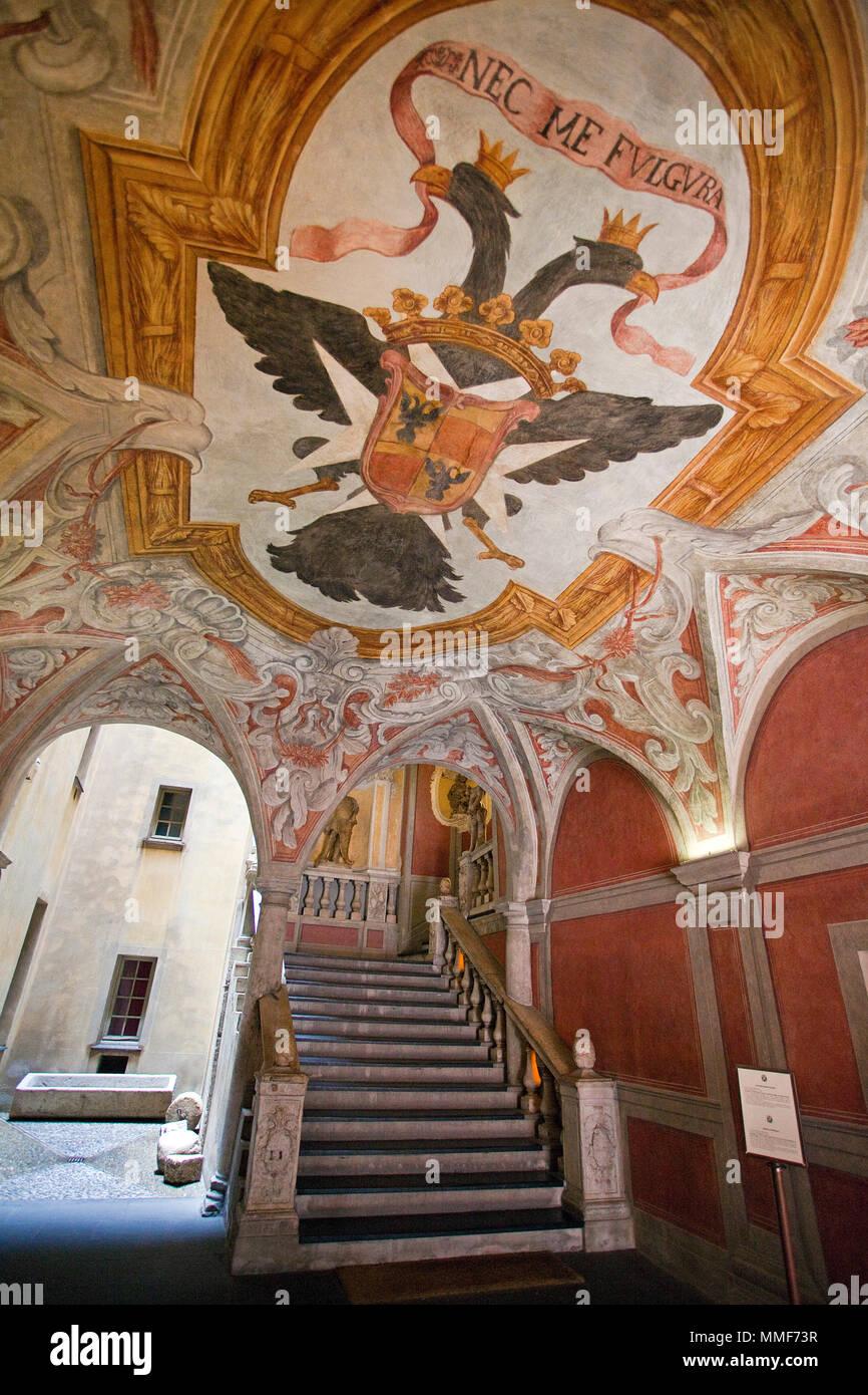 Mural painting inside Museum Palais Lascaris, Palais Lascaris des comtes de Vintimille, 17th century, Nice, Côte d'Azur, Alpes-Maritimes, South France - Stock Image