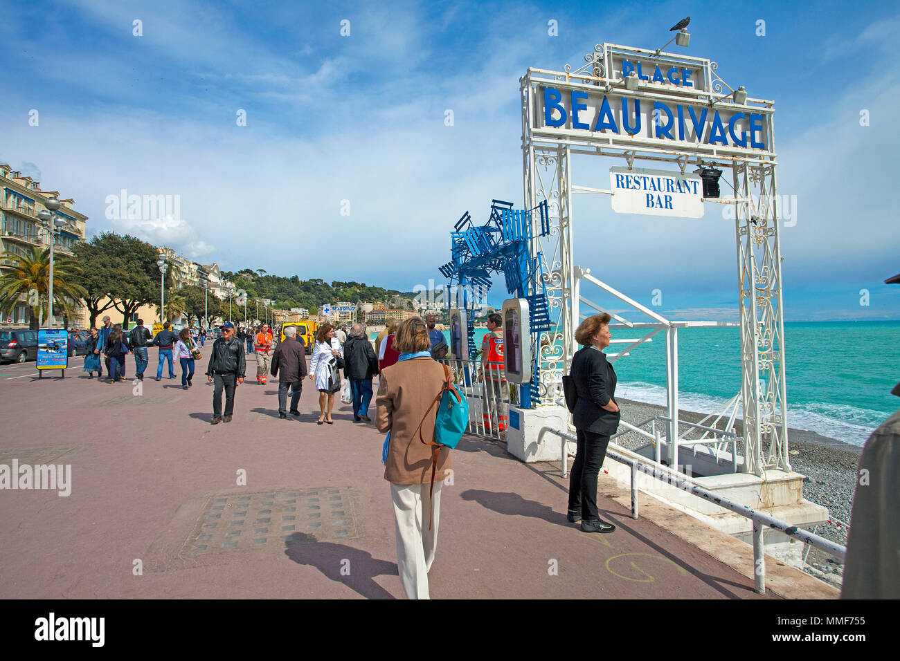 Staircase to Beau Rivage, bar and restaurant at the Promenade des Anglais, Boulevard, Nice, Côte d'Azur, Alpes-Maritimes, South France, France, Europe - Stock Image