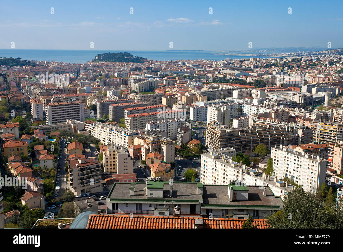 View on the city Nice and Mediterranean sea, Côte d'Azur, Alpes-Maritimes, South France, France, Europe - Stock Image