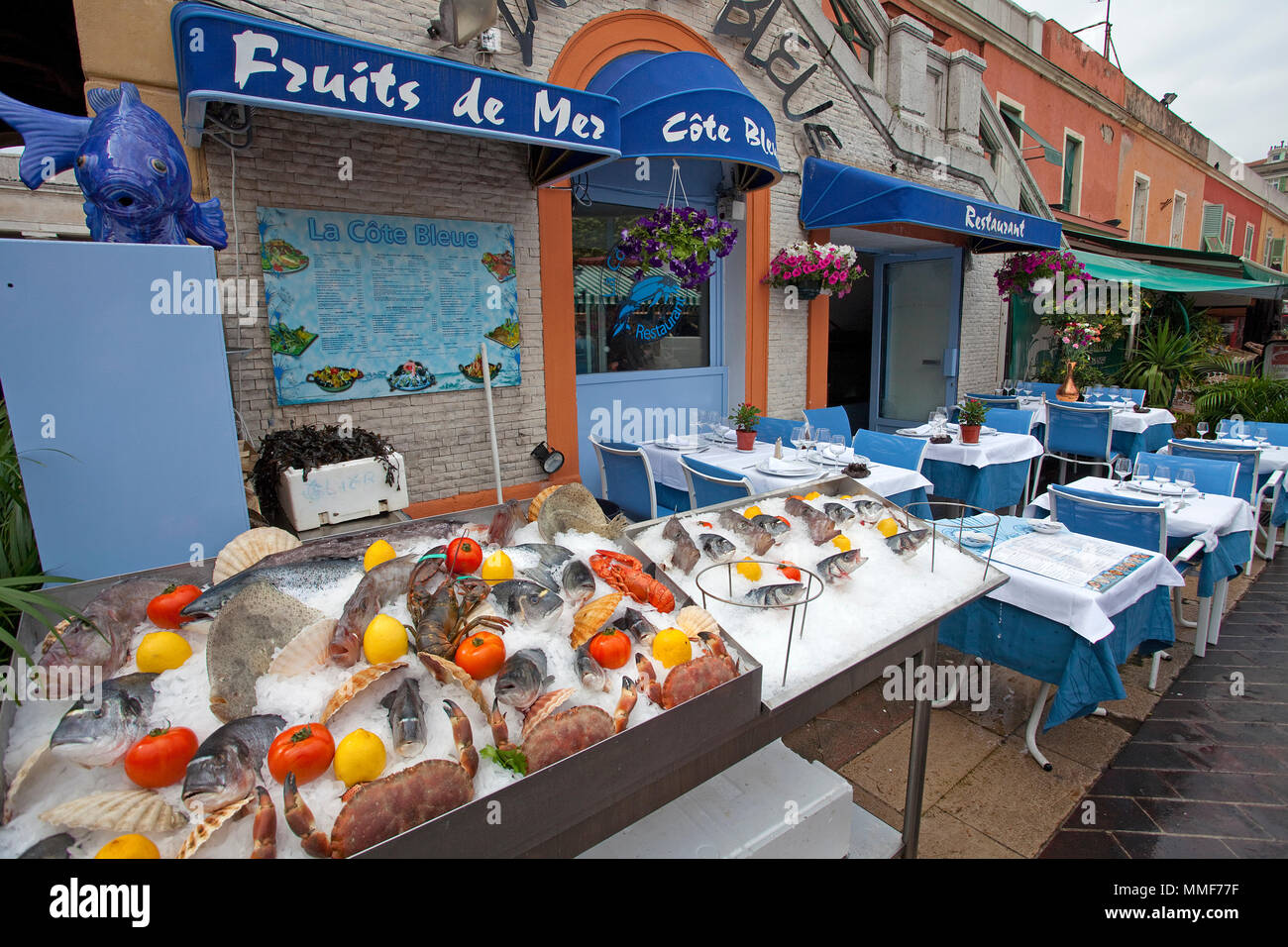 Seafood restaurant at place Cours Saleya, Nice, Côte d'Azur, Alpes-Maritimes, South France, France, Europe - Stock Image