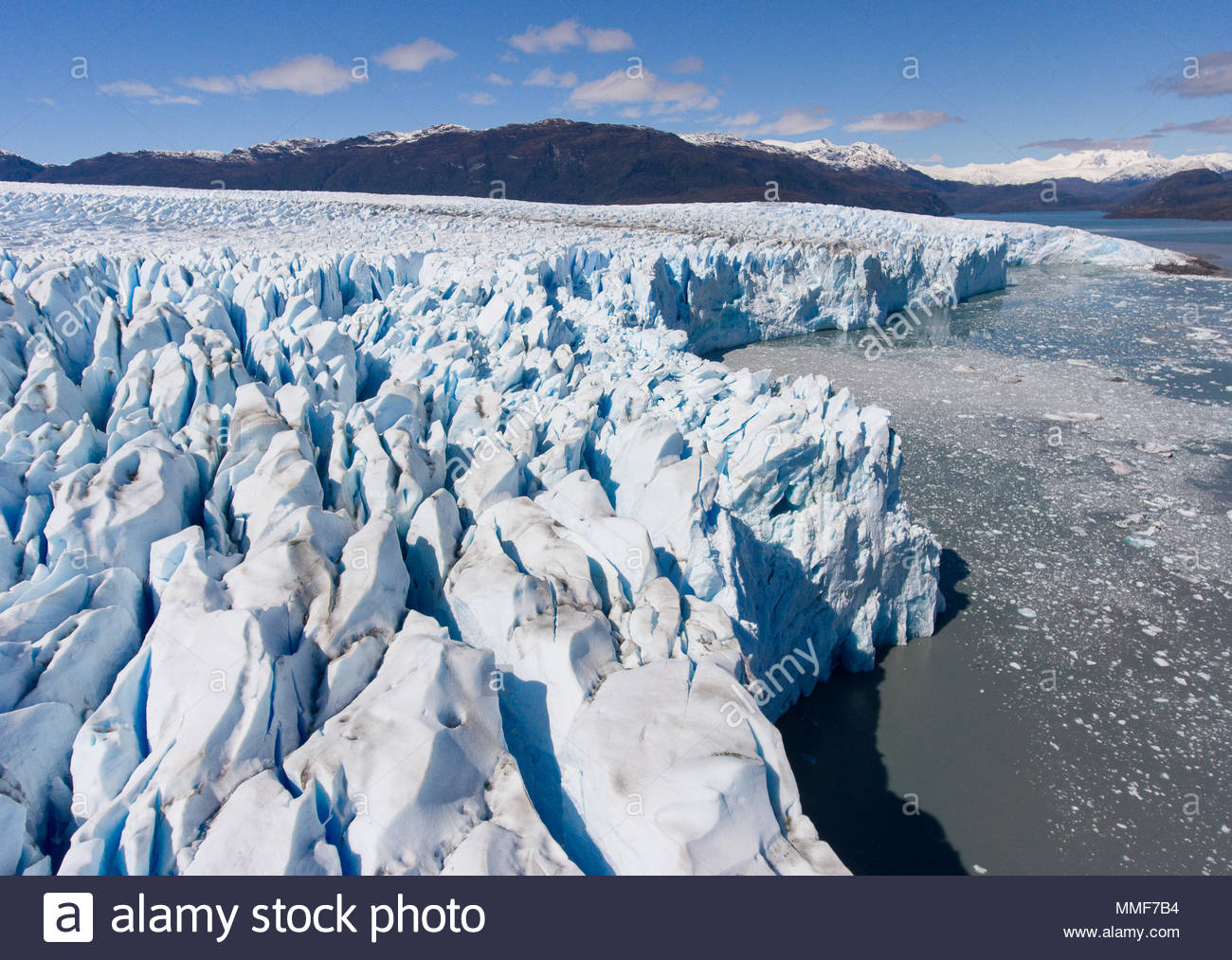 An aerial view of the Bruggen glacier located in Bernardo O'Higgins National Park, Chile. - Stock Image