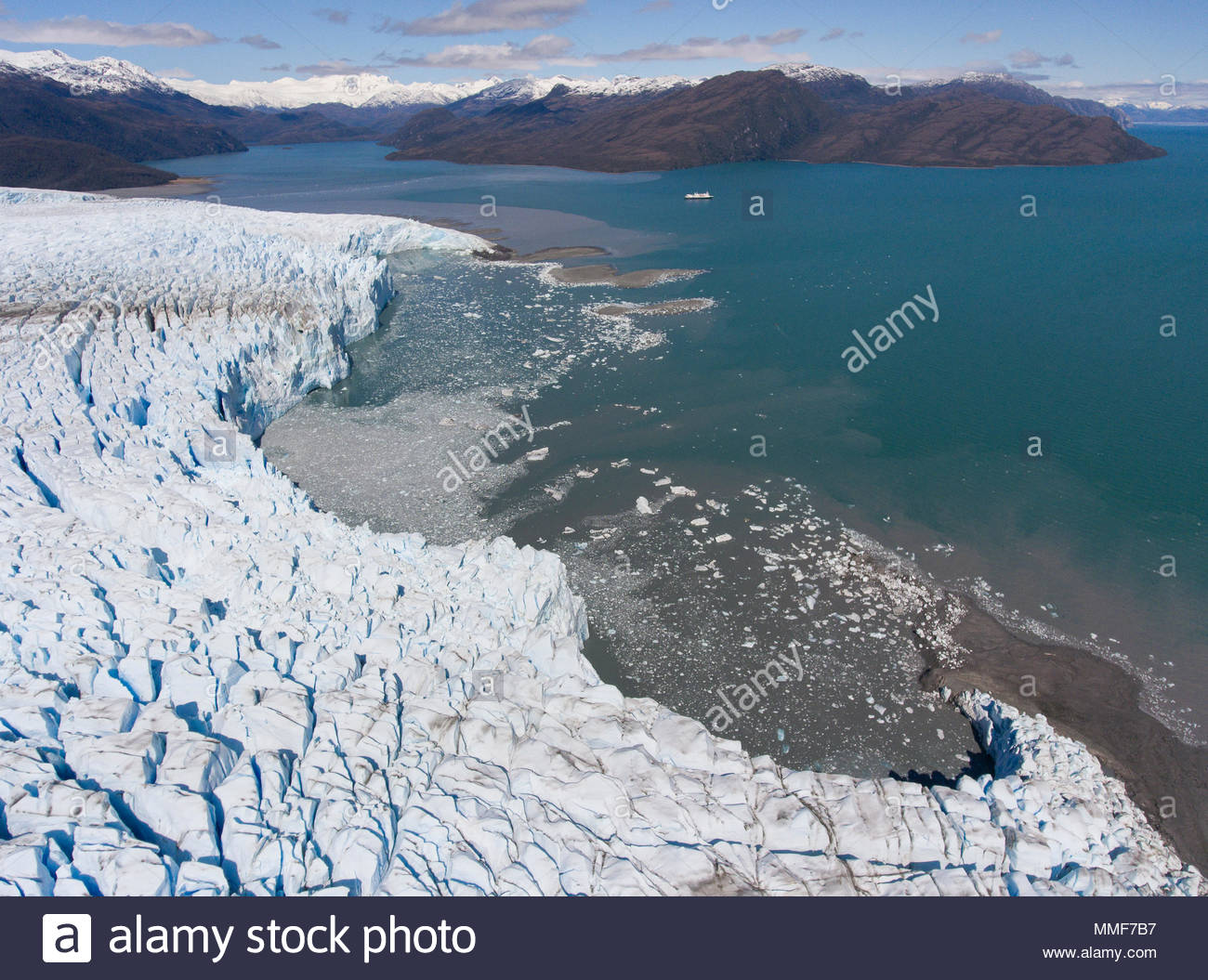 An aerial view of the Bruggen glacier in Bernardo O'Higgins National Park, Chile. - Stock Image