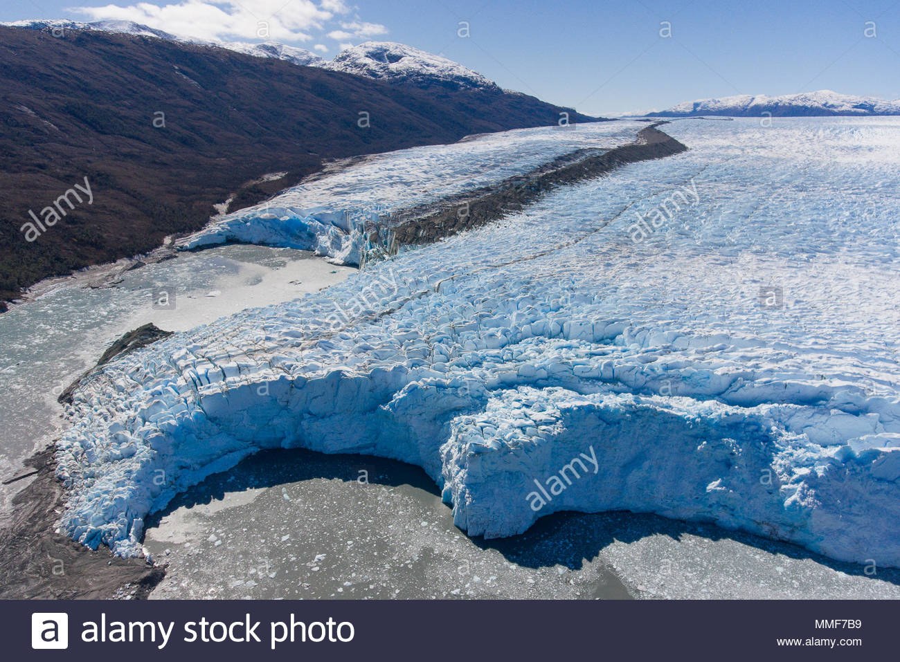 An aerial view of the Bruggen glacier in the Bernardo O'Higgins National Park, Chile. - Stock Image