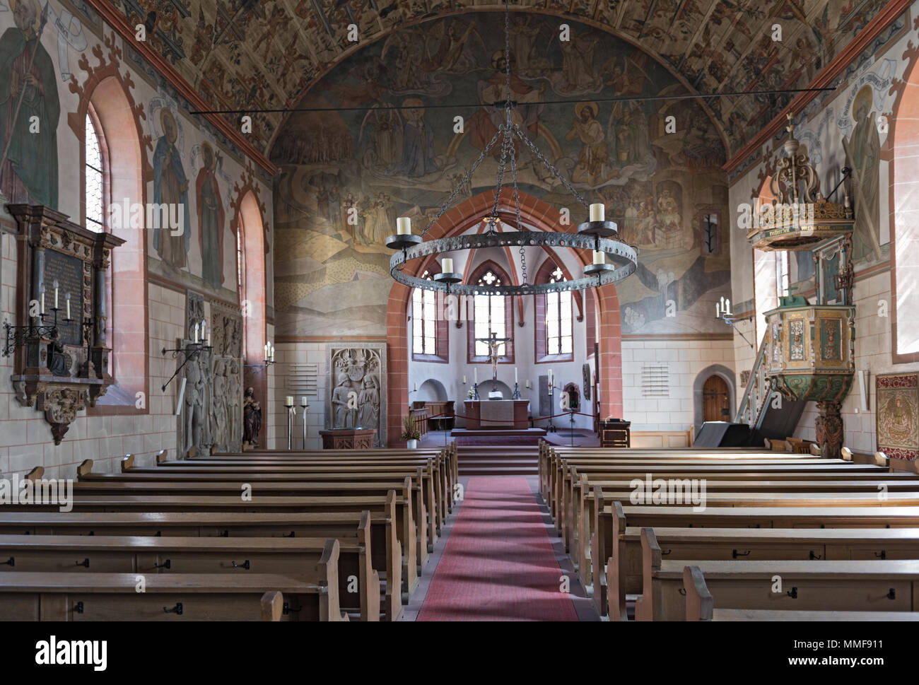 the city church st. johann, kronberg im taunus from the inside - Stock Image