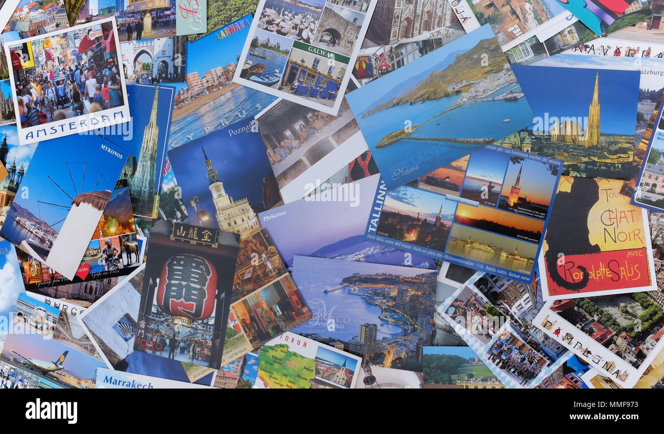 Montage of travel postcards from throughout the world. - Stock Image