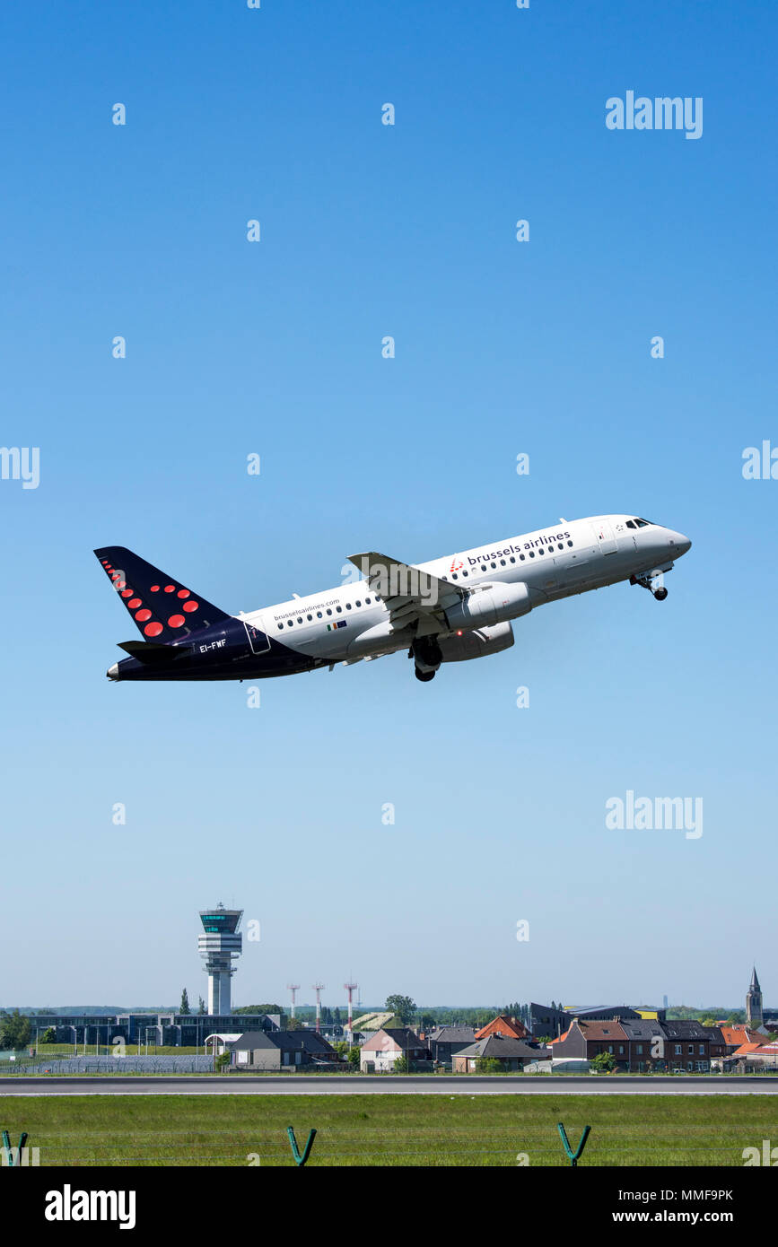 Sukhoi Superjet 100-95B from Brussels Airlines taking off from runway at the Brussels-National airport, Zaventem, Belgium - Stock Image