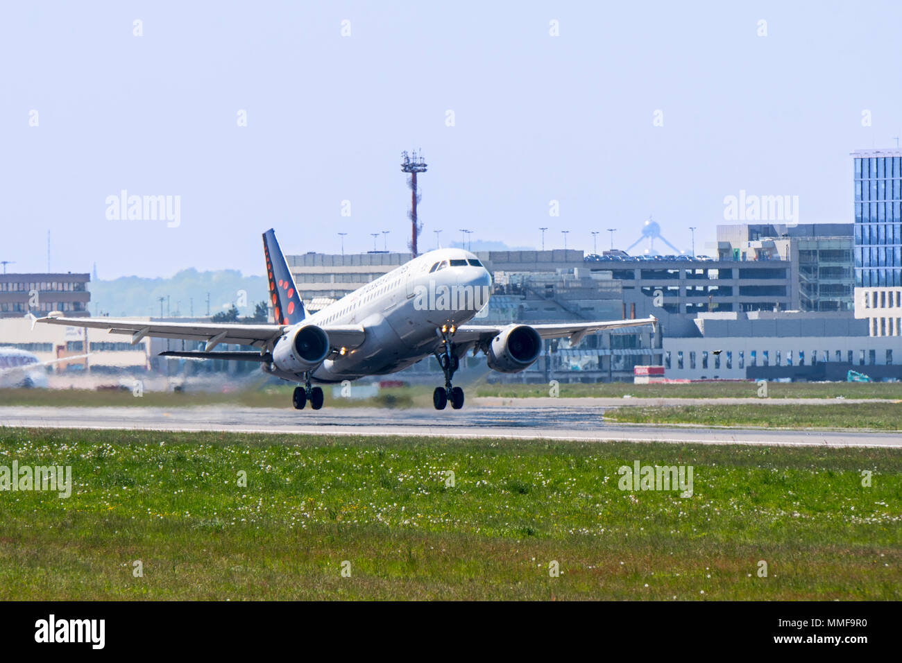 Airbus A319-111 from Brussels Airlines taking off from runway at the Brussels-National airport, Zaventem, Belgium - Stock Image