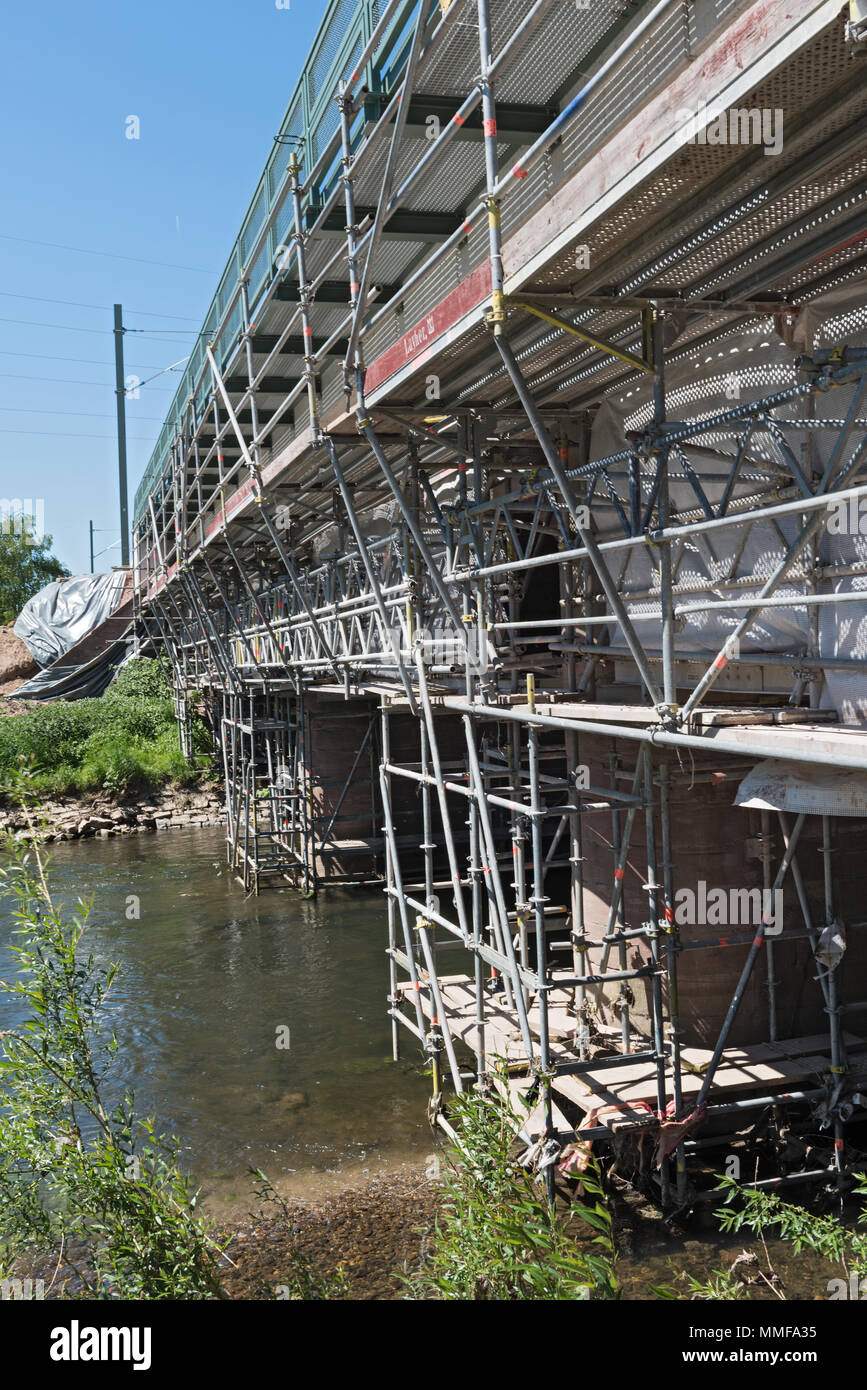 renovation of an old railway bridge over the river nidda in frankfurt am main, germany - Stock Image