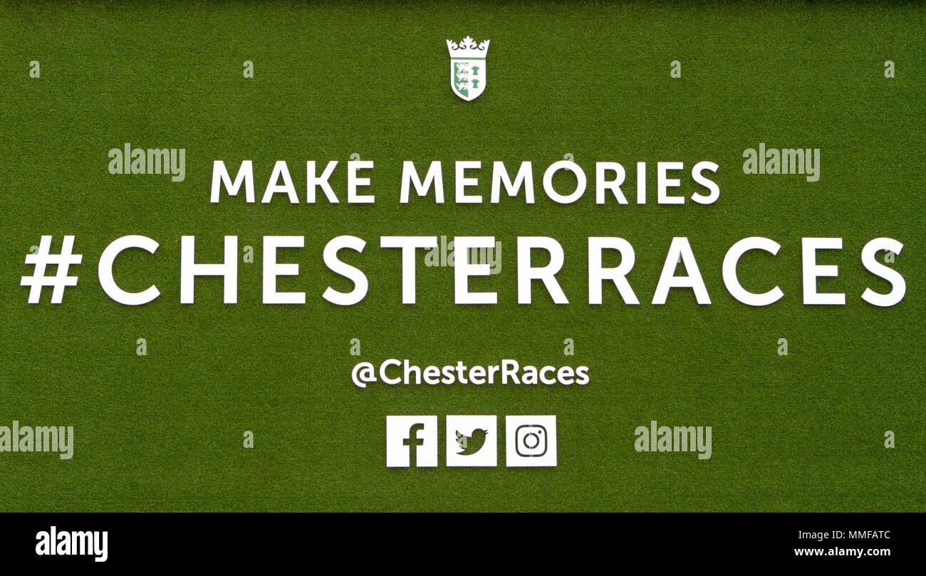 Chester races sign on artificial grass signboard - Stock Image