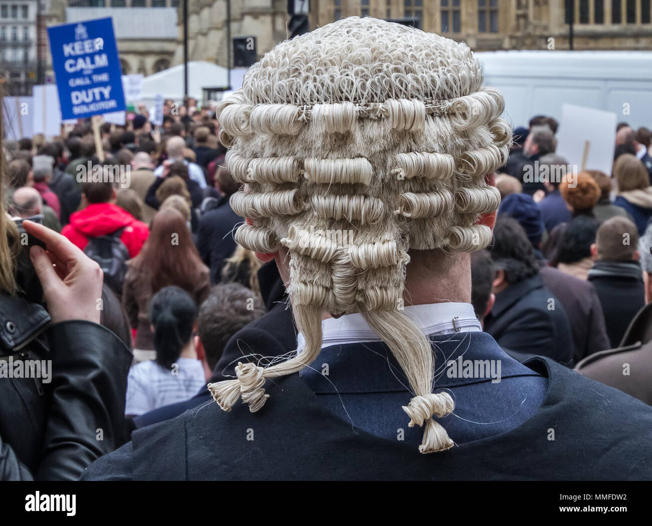 Barristers and solicitors protest in a second mass walkout over cuts to legal aid. Westminster, UK - Stock Image