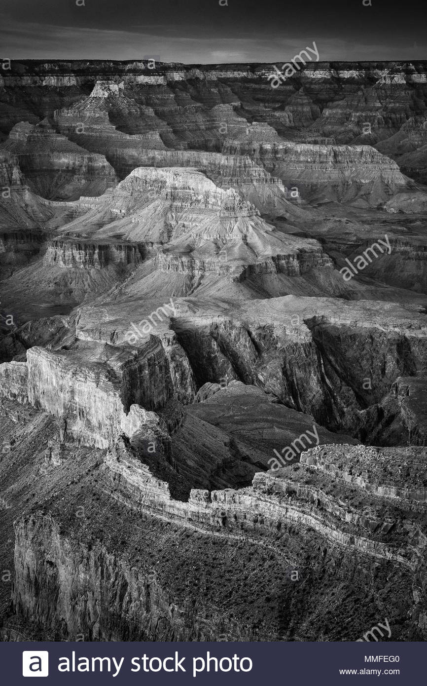 Overview of the Grand Canyon in Grand Canyon National Park. Stock Photo