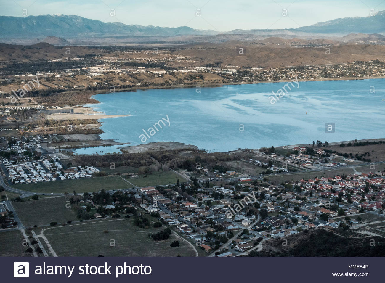 The lake and the town of Lake Elsinore. - Stock Image