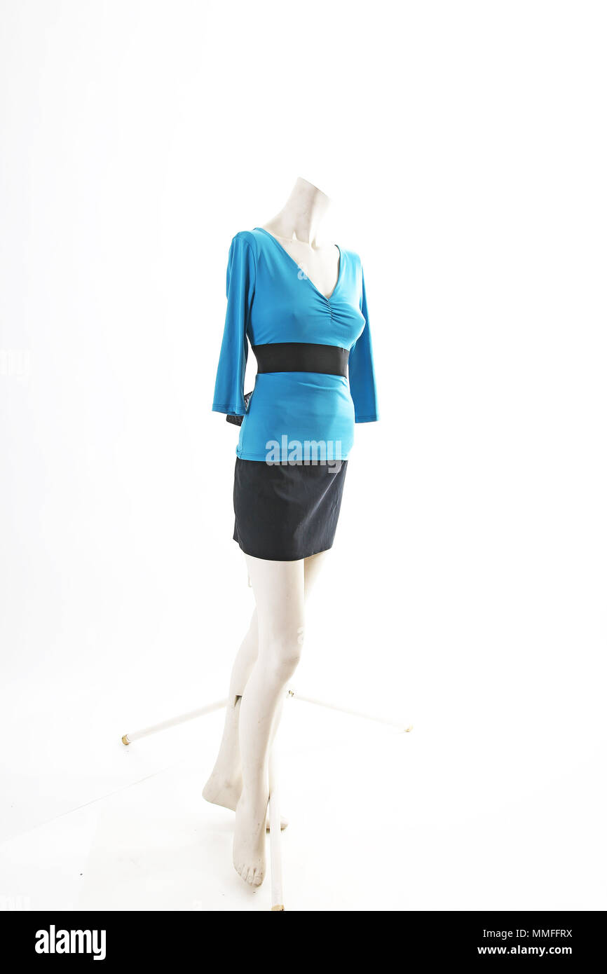 9e83be47c89 Blue top sweater blouse and black skirt on mannequin full body shop  display. Woman fashion styles