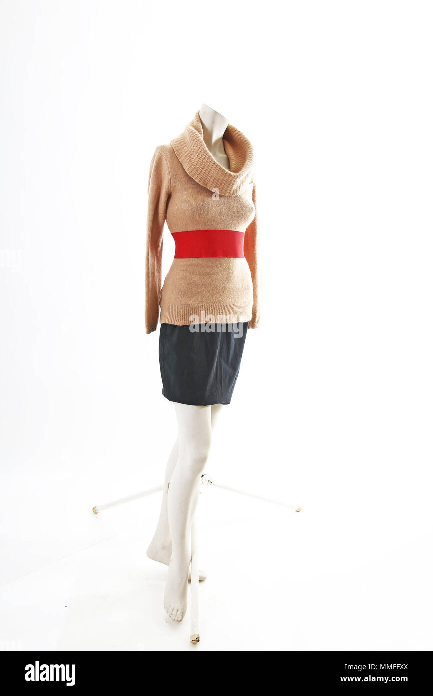 Elegant outfit with mini skirt spring wear on mannequin full body