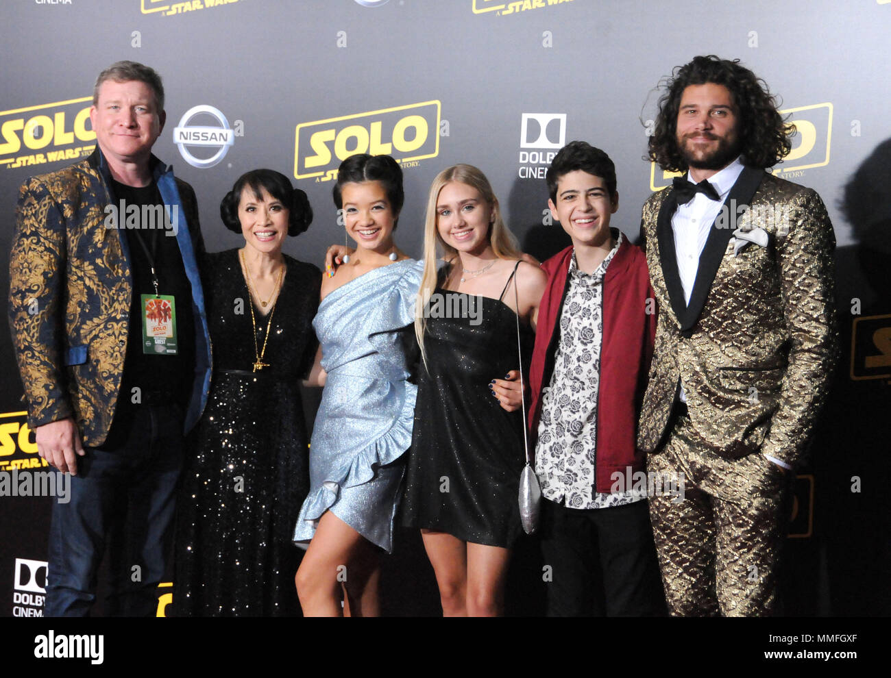 Hollywood, California, USA. 10th May, 2018. (L-R) Actors Stoney Westmoreland, Lauren Tom, Peyton Elizabeth Lee, Emily Skinner, Joshua Rush and Trent Garrett attend the premiere of Disney Pictures and Lucasfilms' 'Solo: A Star Wars Story' at the Dolby Theatre, El Capitan Theatre and Grauman's Chinese Theatre on May 10, 2018 in Hollywood, California. Photo by Barry King/Alamy Live News - Stock Image