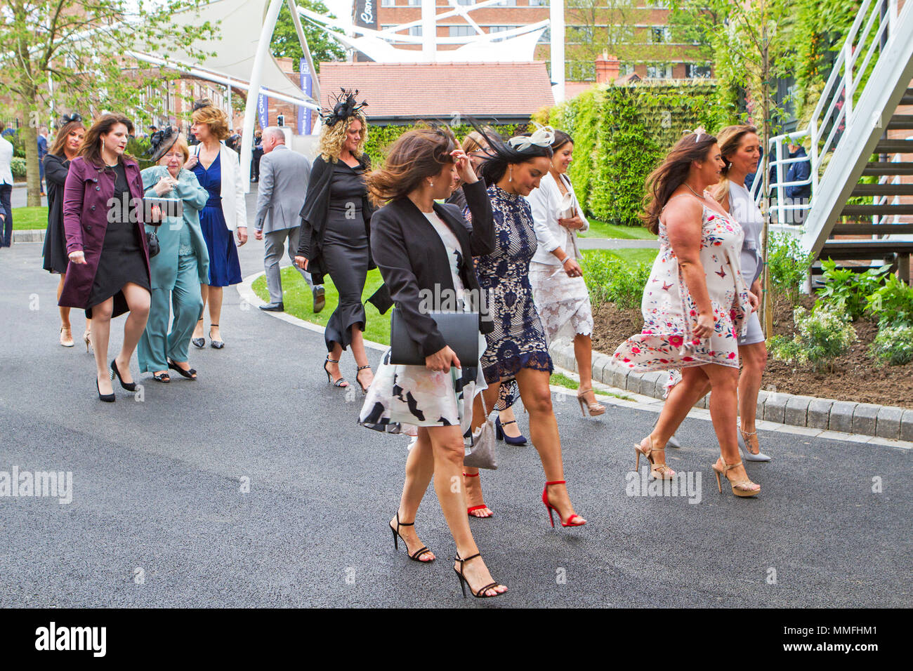 Boodles May Festival, Day 3 Chester Races. Chester, UK. 11th May 2018.  Bets a plenty on this huge horse racing event on the third day of the Boodles May Festival at the Chester racecourse.  High spirits and fine fashions were the order of the day as racegoers flocked in to this fabulous event in the horse racing calendar.  Credit: Cernan Elias/Alamy Live News - Stock Image