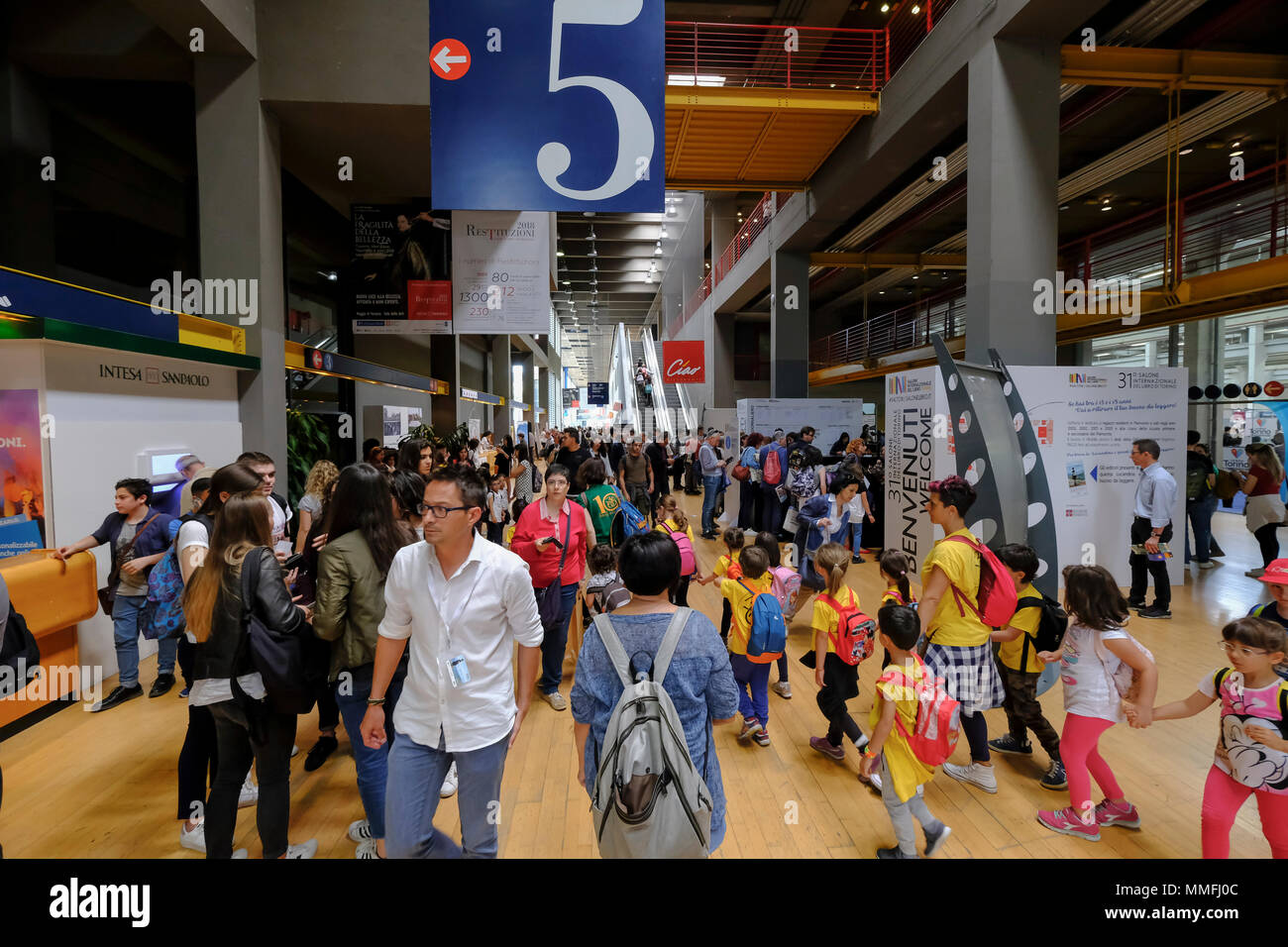Turin, Piedmont, Italy, 10th May, 2018. International Book fair 2018,first day.People visiting the book fair Credit: RENATO VALTERZA/Alamy Live News - Stock Image