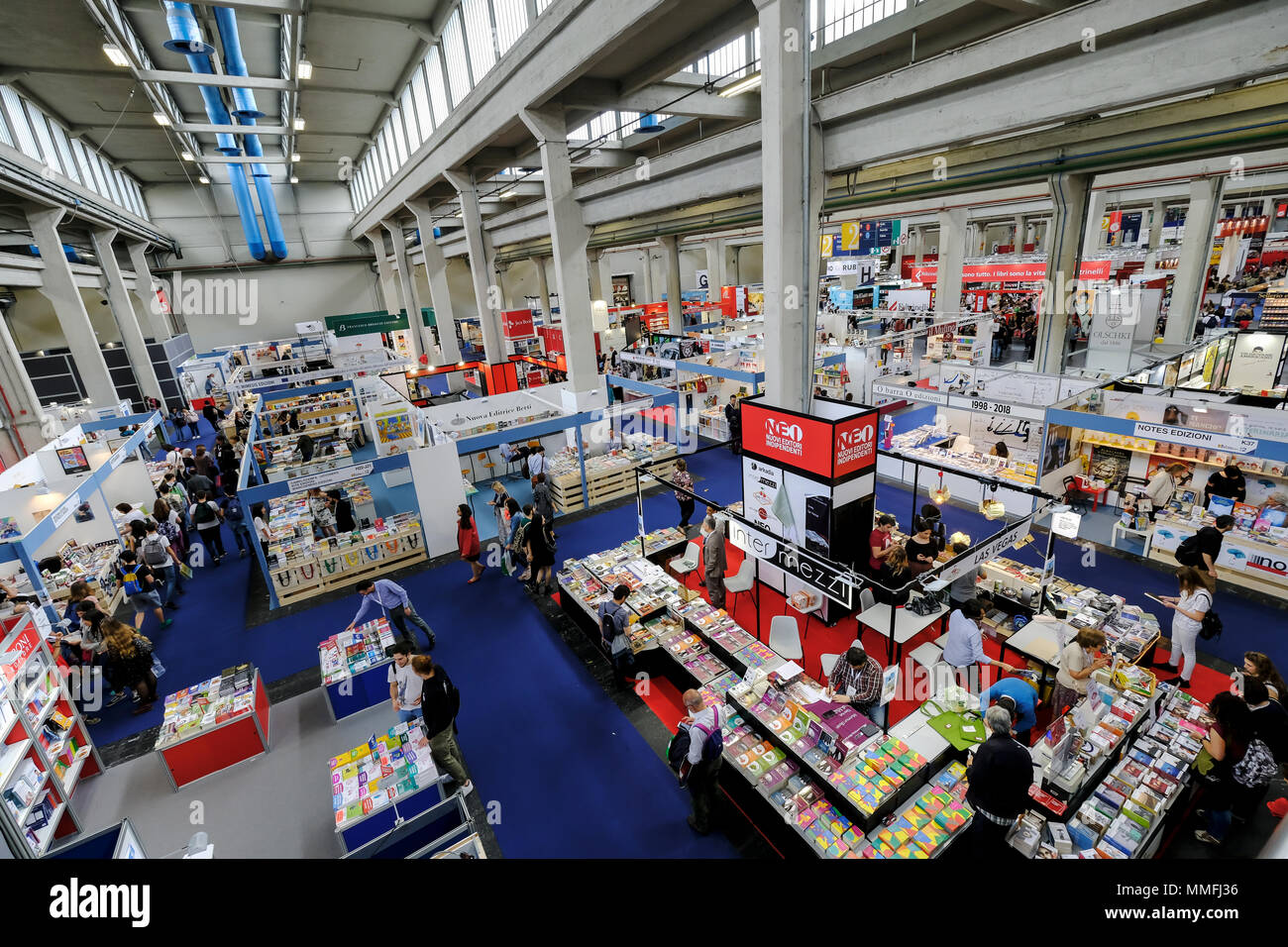 Turin, Piedmont, Italy, 10th May, 2018. International Book fair 2018,first day.General view of the stands in the book fair Credit: RENATO VALTERZA/Alamy Live News - Stock Image