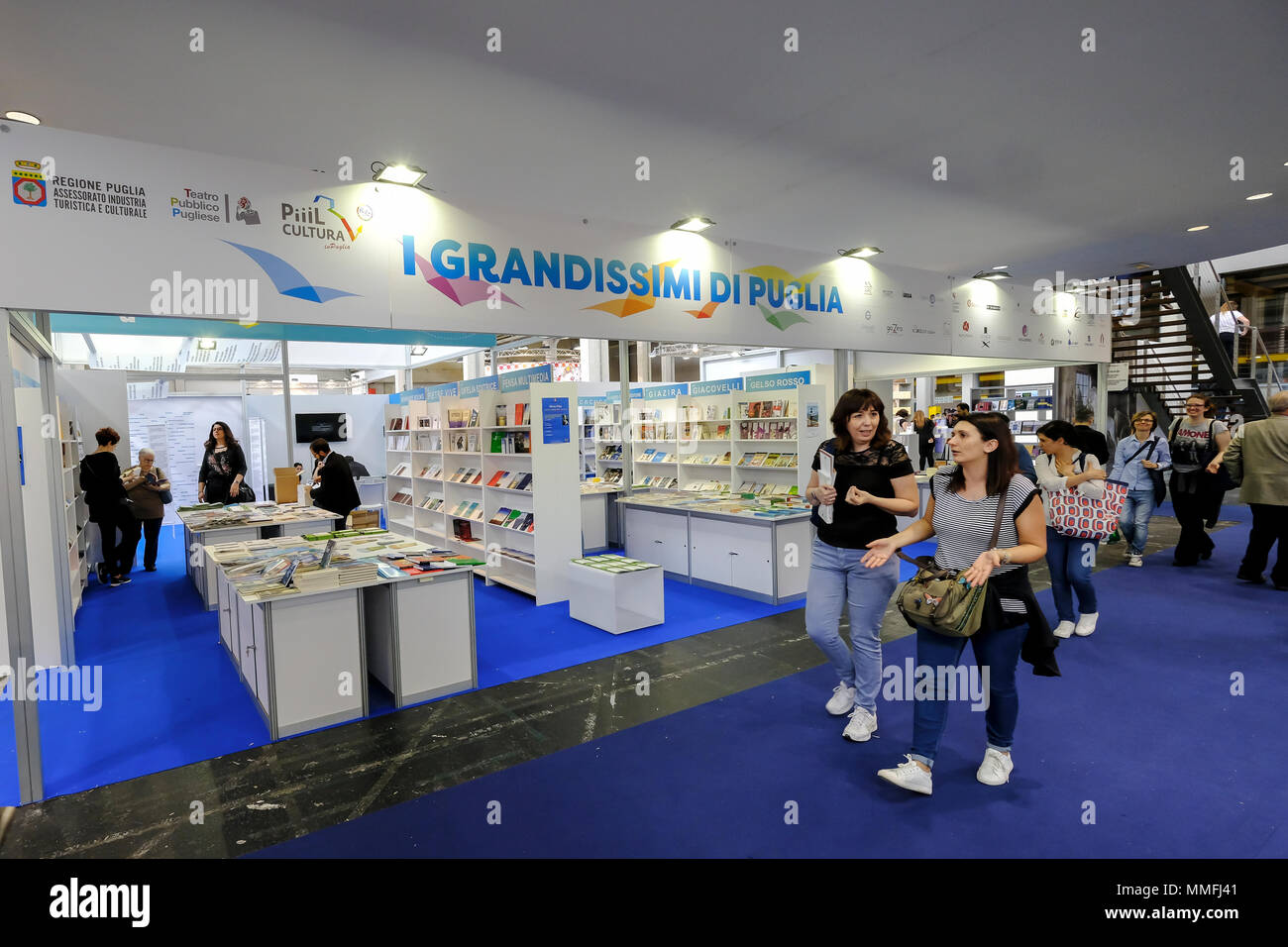 Turin, Piedmont, Italy, 10th May, 2018. International Book fair 2018,first day.Area devoted to the publishers from Puglia Credit: RENATO VALTERZA/Alamy Live News - Stock Image