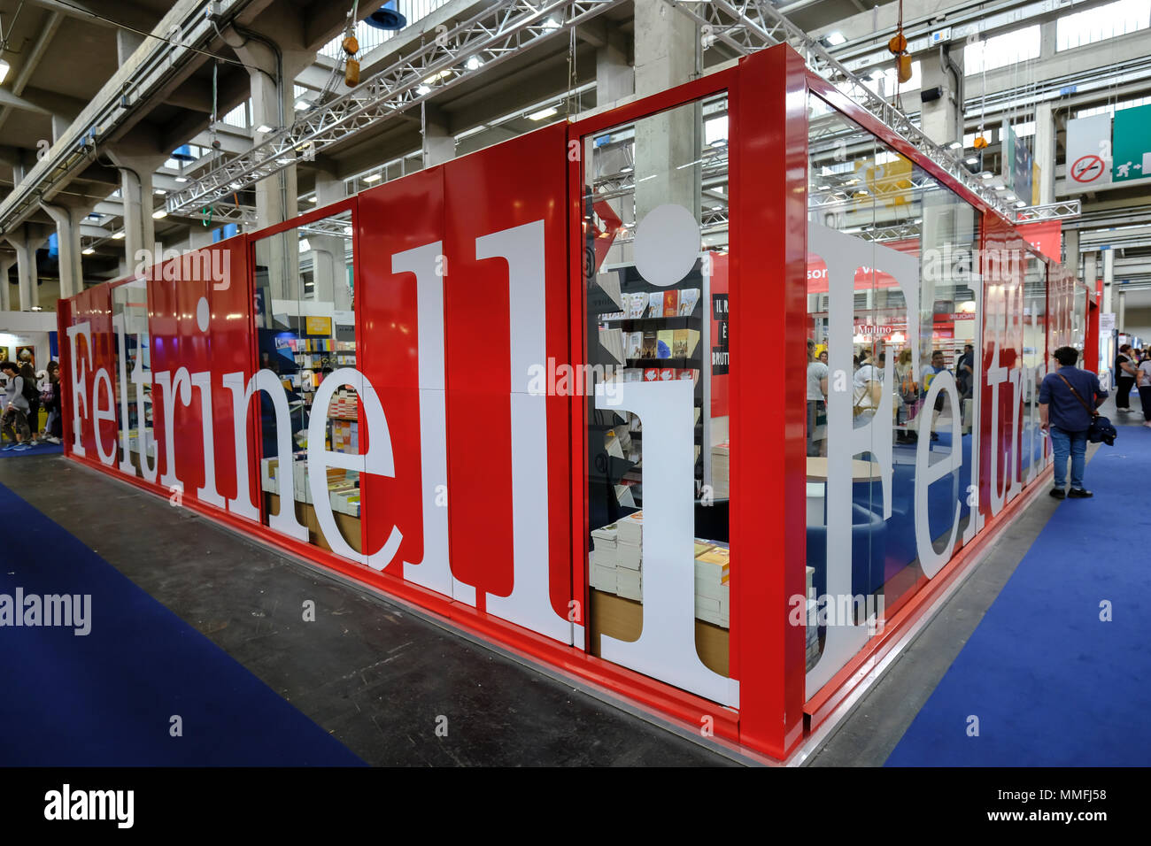 Turin, Piedmont, Italy, 10th May, 2018. International Book fair 2018,first day.Feltrinelli publishe'rs stand Credit: RENATO VALTERZA/Alamy Live News - Stock Image