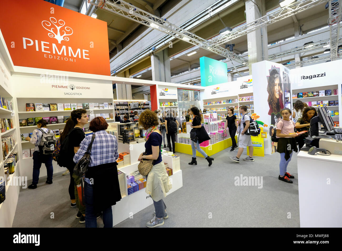 Turin, Piedmont, Italy, 10th May, 2018. International Book fair 2018,first day.Piemme publisher's stand Credit: RENATO VALTERZA/Alamy Live News - Stock Image